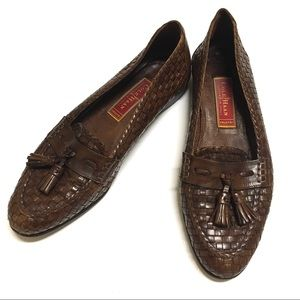 Vintage Cole Haan Woven Leather Loafers Brown 8B
